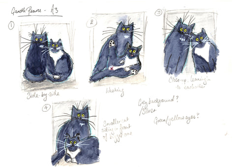 Sketches of cats by Kim Haskins