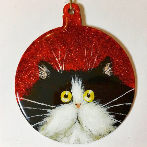 Tuxedo cat on red glitter round ornament