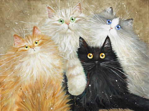 Puschi Schnuddi Fusslo Tazuma fluffy cats commission by Kim Haskins