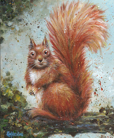 Red Squirrel painting by Kim Haskins