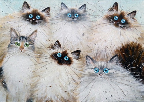 six cats painting by Kim Haskins