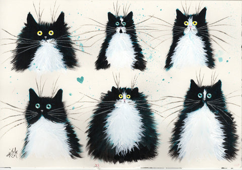 Tuxedo black and white cats original painting / sketch on paper by Kim Haskins