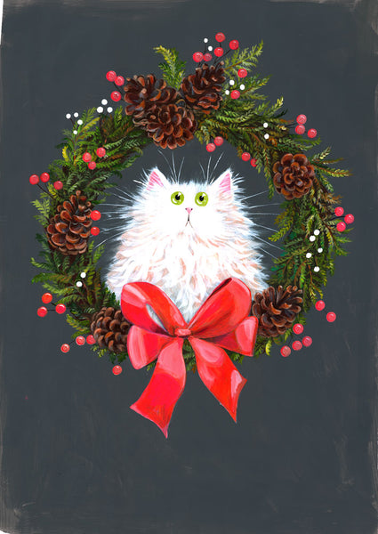 White cat in festive wreath by Kim Haskins