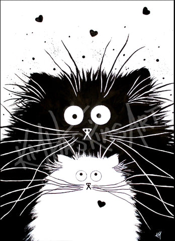 You're Purrfect black cat and white kitten cute cartoon drawing