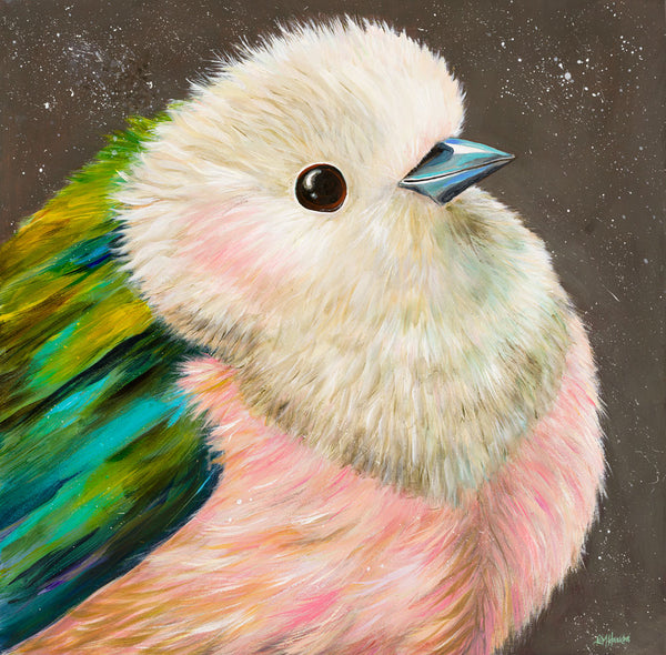 Pink and Green Bird by Kim Haskins