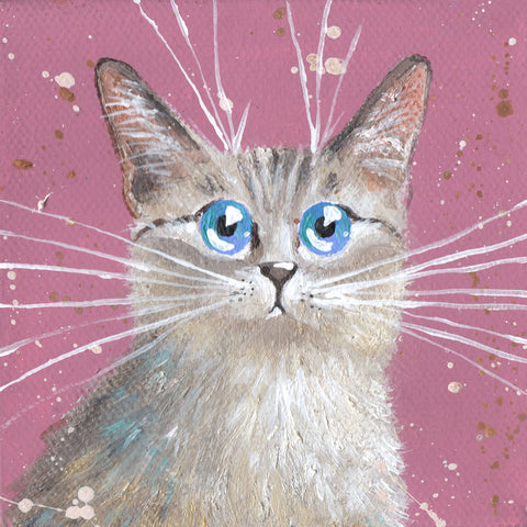 Small Grey Cat With Blue Eyes by Kim Haskins