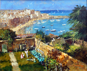 'Down To St Ives Harbour' original painting by John Haskins