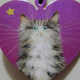 Tabby on shimmery purple - ornament