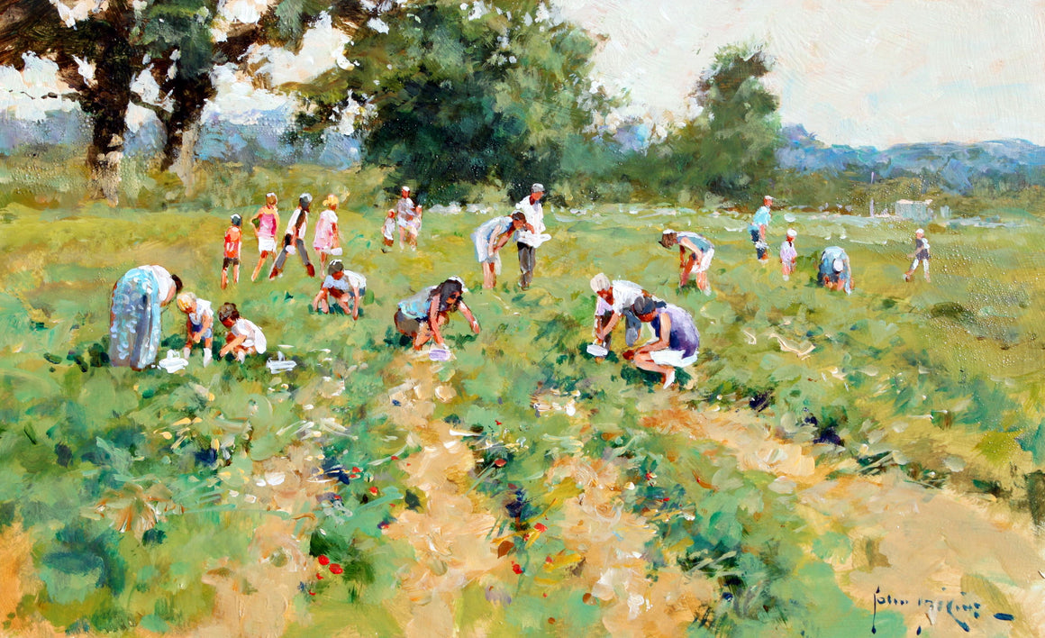 'The Strawberry Pickers' original painting by John Haskins