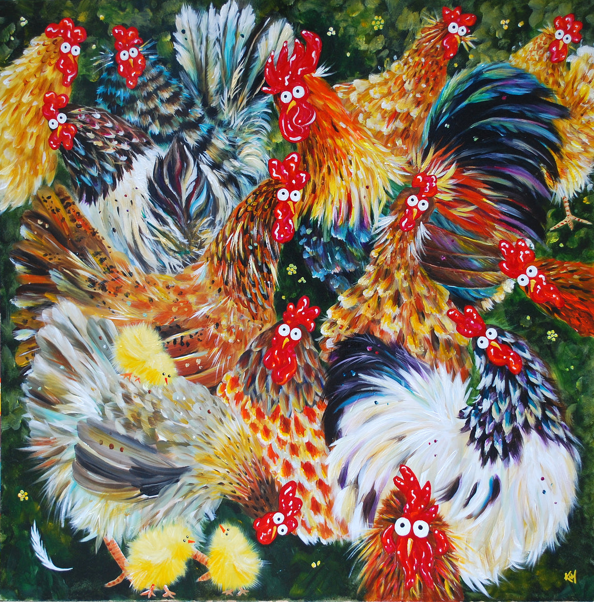 'Hen Party' signed & mounted print
