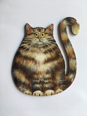 Brown & gold tabby cat - ornament