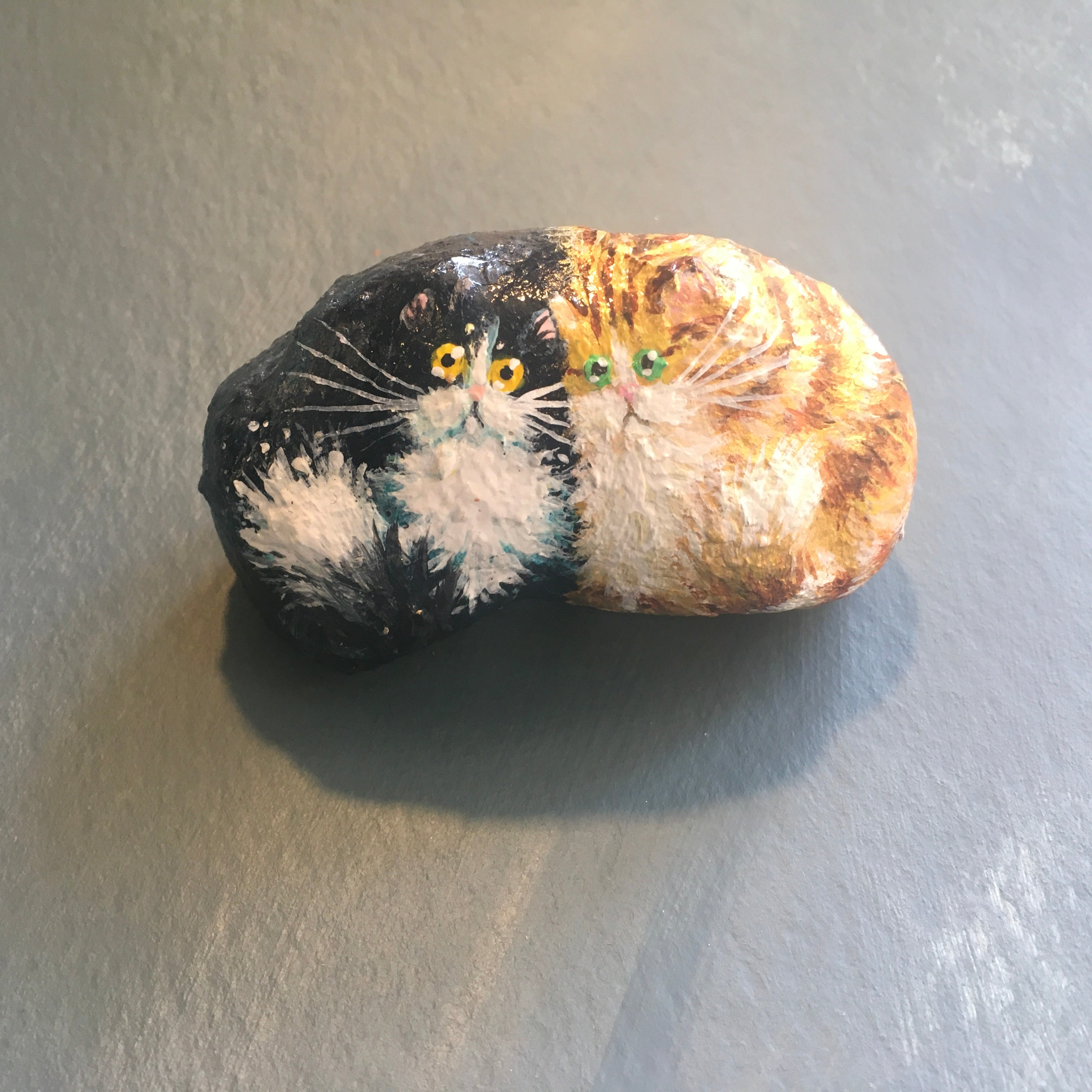 Handmade model of two cats