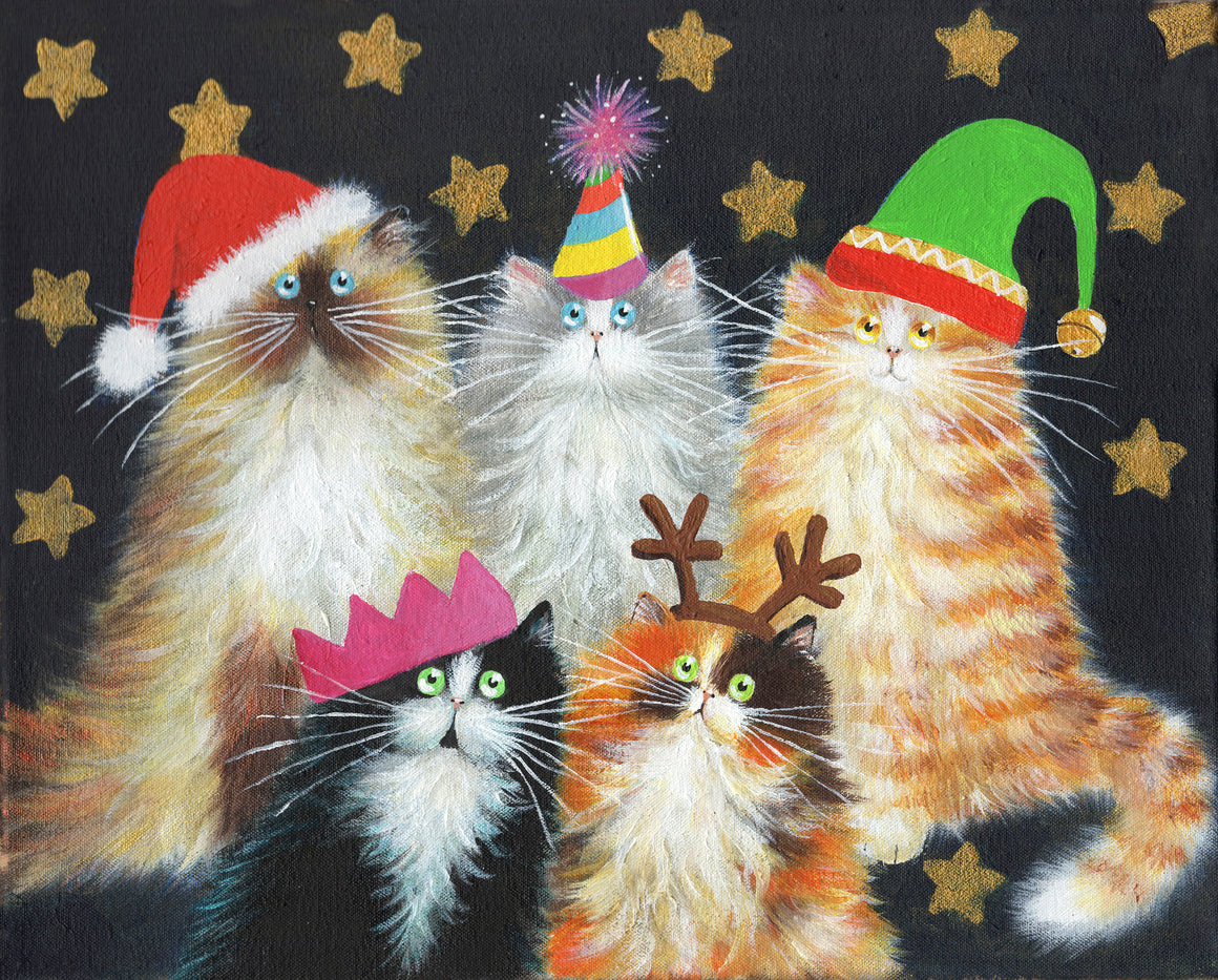 AUCTION: Christmas Cats painting