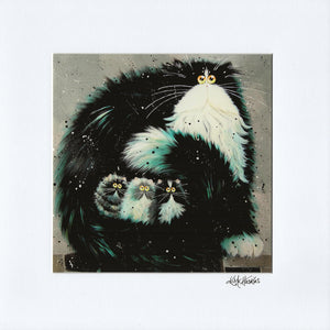 'Purrtection' signed & mounted print