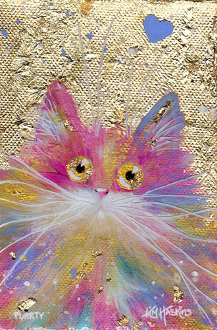 'Purrty' greetings card - Kim Haskins Art