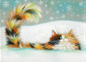 AUCTION: Tortie In Snow painting