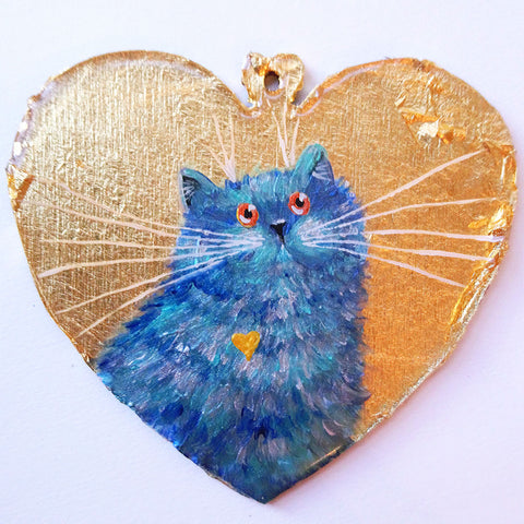 Blue shorthair cat on gold leaf - ornament