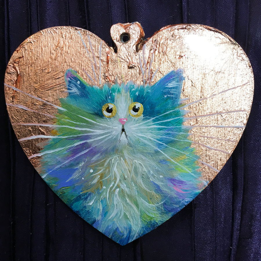 Pastel rainbow cat on copper leaf - ornament