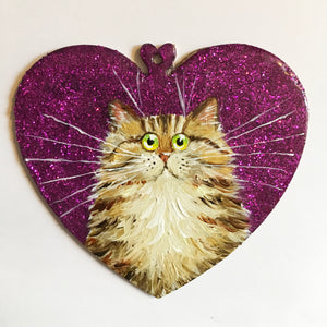 Brown & gold tabby on pink sparkle - ornament