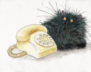 Original drawings: 'Call Me' black cat