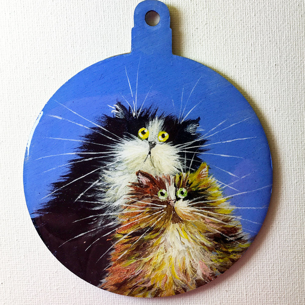Cat couple on blue - ornament