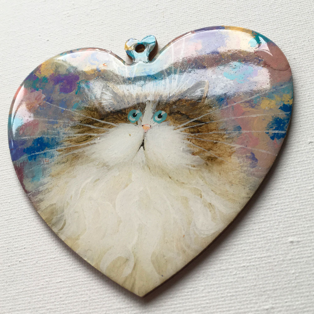 Brown & white cat on pretty abstract - almost perfect ornament