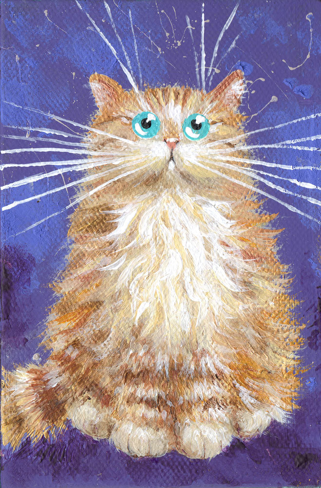 Ginger Kitten On Purple mini painting