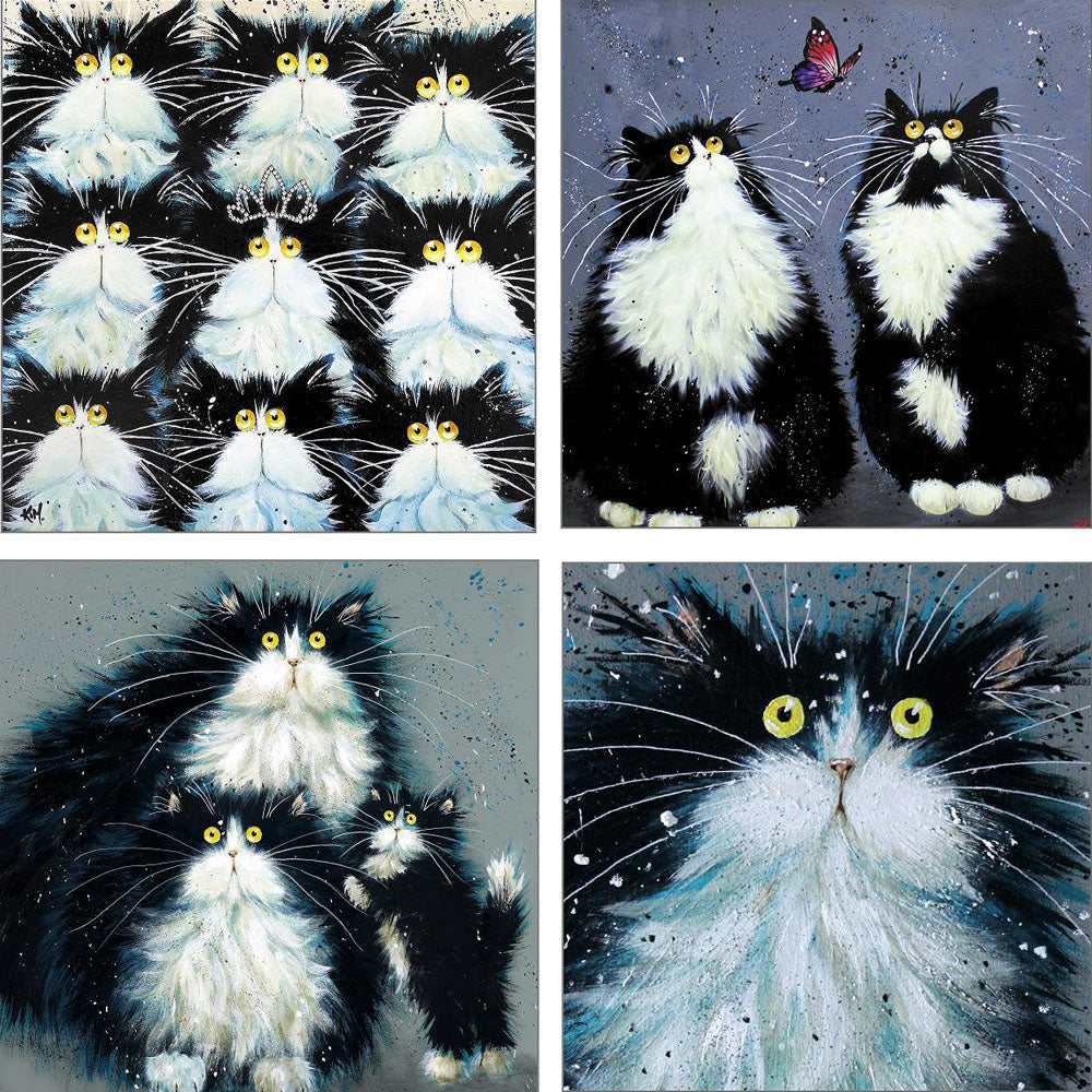 Set of 4 greetings cards - 'Fluffy Tuxedos'