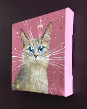 Grey Cat On Pink mini painting