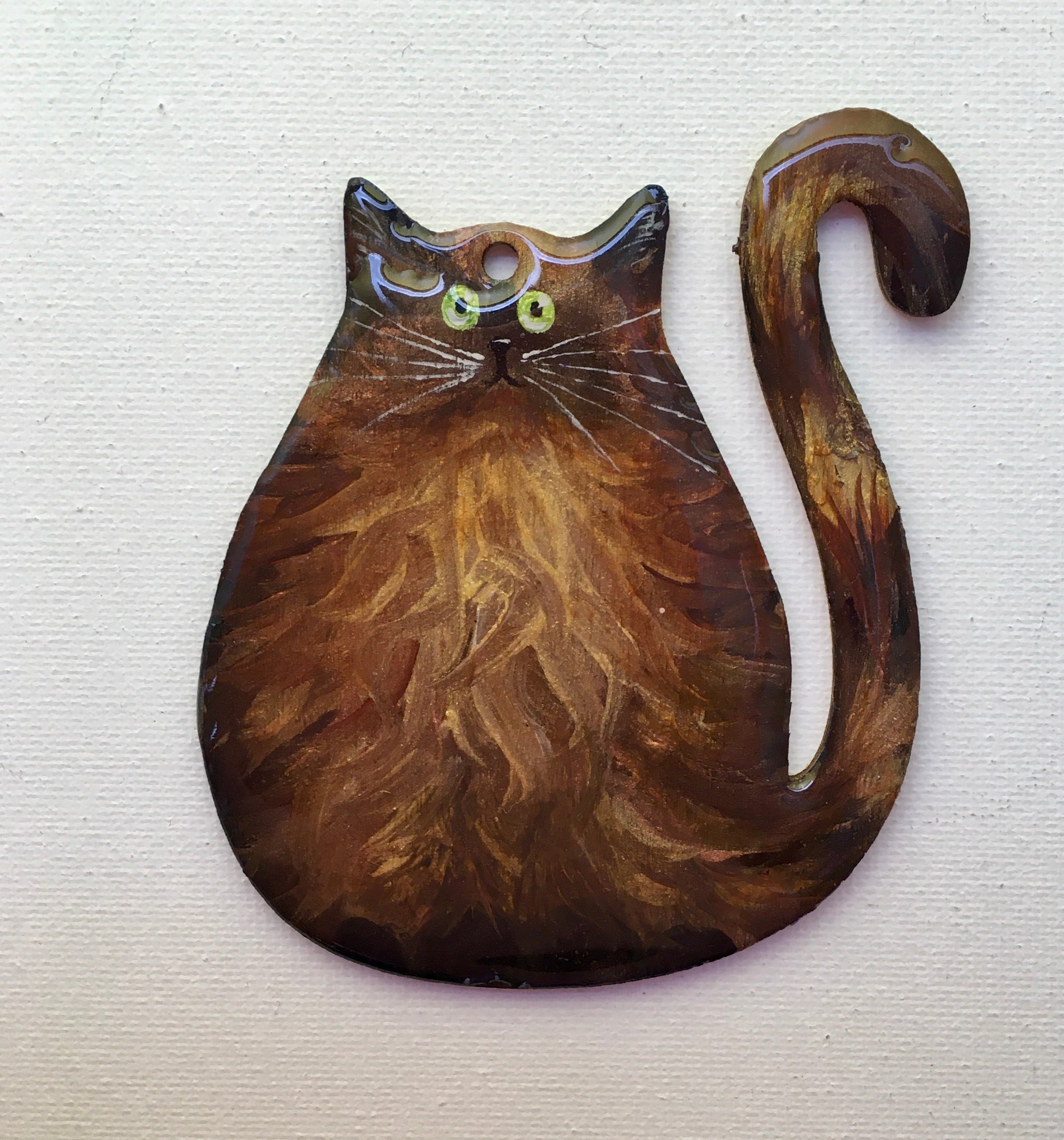 Copper cat - imperfect ornament
