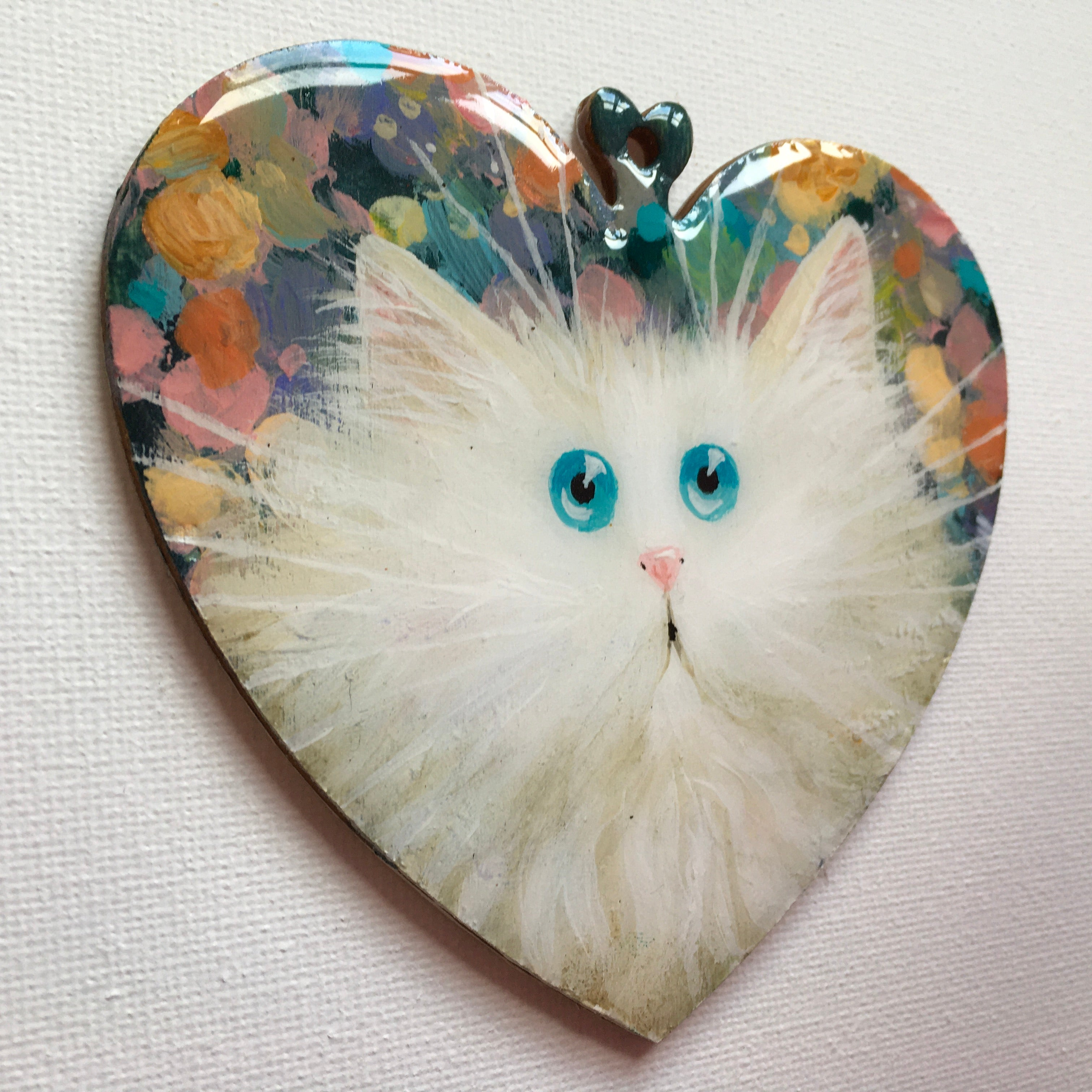 White kitty on pastel abstract - ornament