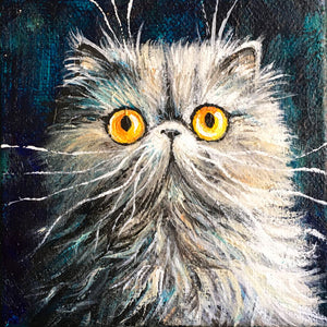 Amber-Eyed Grey Cat On Dark Turquoise painting