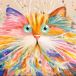 Pastel Rainbow Cat painting