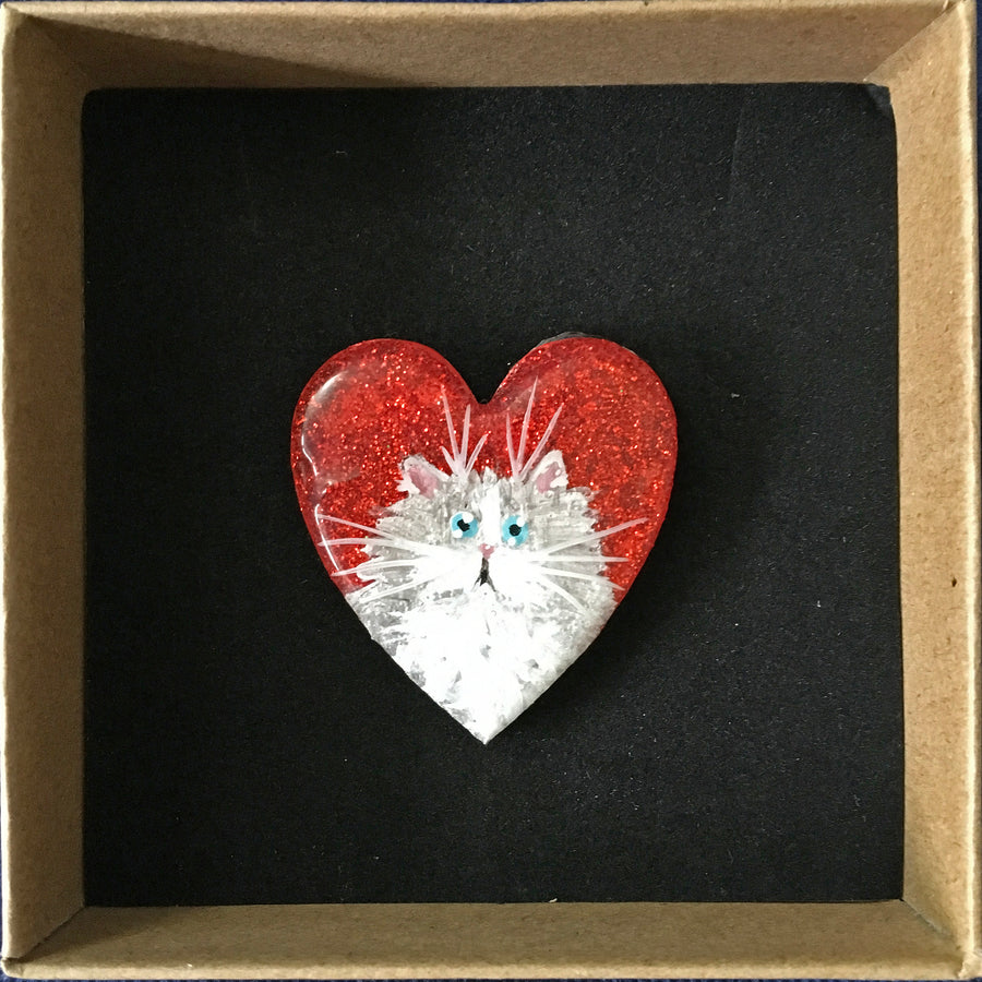 AUCTION: Grey cat on red sparkle brooch