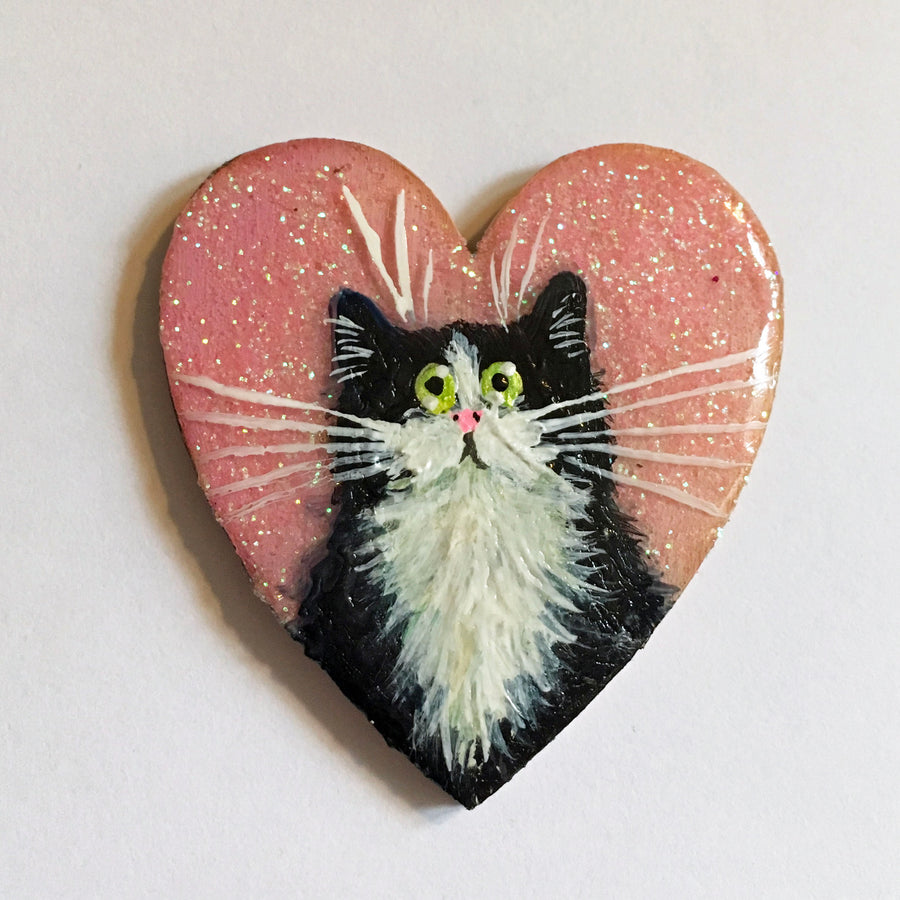Cat heart brooches