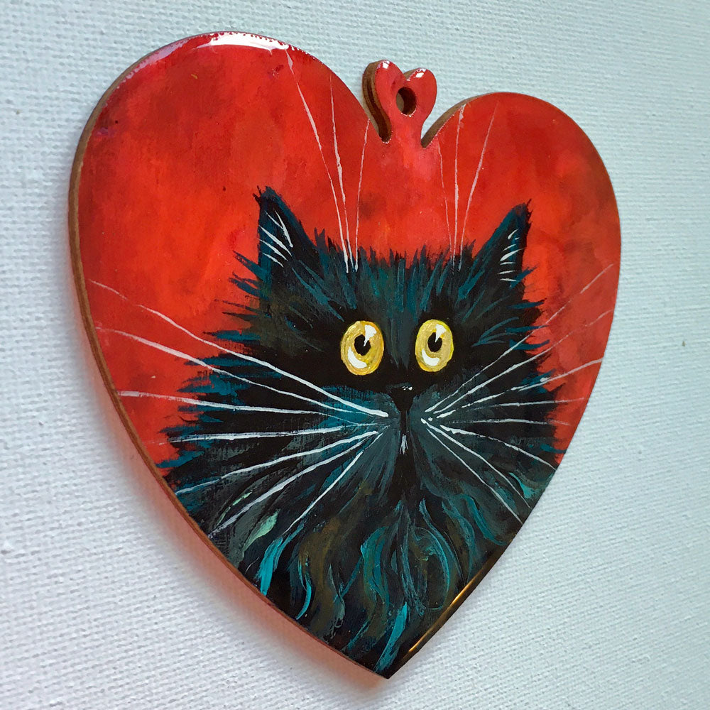 Black kitty on red - ornament
