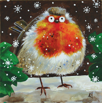 'Snowy Robin' Christmas card pack of 6 - Kim Haskins Art - 1
