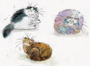 Original drawings: three cats