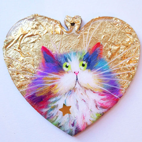 Fluffy rainbow cat on gold leaf - ornament