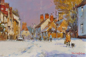 'Snow In The Village' original painting by John Haskins