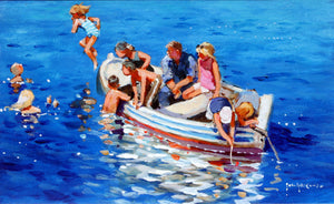 'Swimming Off The Little Boat' original painting by John Haskins