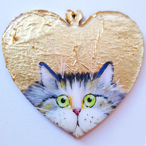 Silver tabby cat on gold leaf - ornament