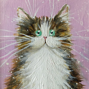 AUCTION: Mini framed painting of tabby & white cat
