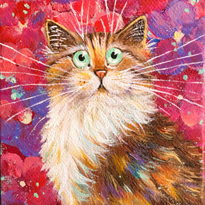Tortie Cat On Pink Florals painting
