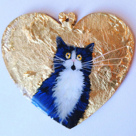 Tuxedo shorthair cat on gold leaf - ornament