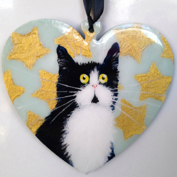 Tuxedo cat with gold stars - ornament