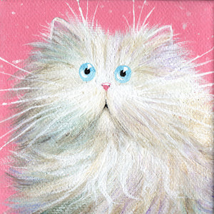 White Persian on Pink painting