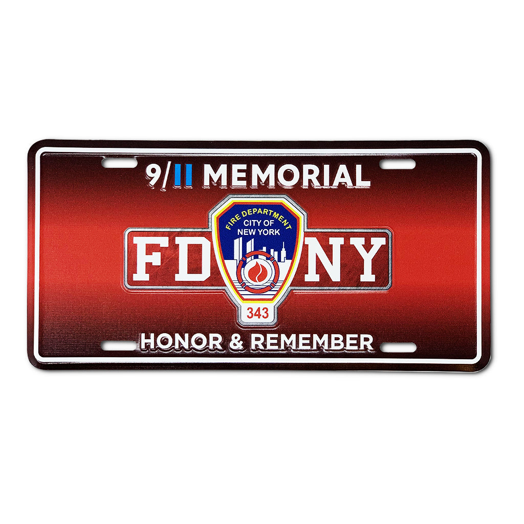In Memory of FDNY-NYPD 9-11-01 Photo Plate
