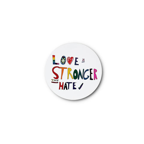Love is Stronger than Hate Sticker - White