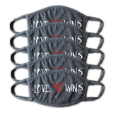 Love Wins Grey Face Mask - Buy 5, Give 5